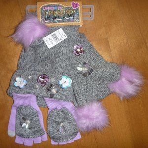 Limited Too HAT Gloves Scarf Set Gray Lavender NWT